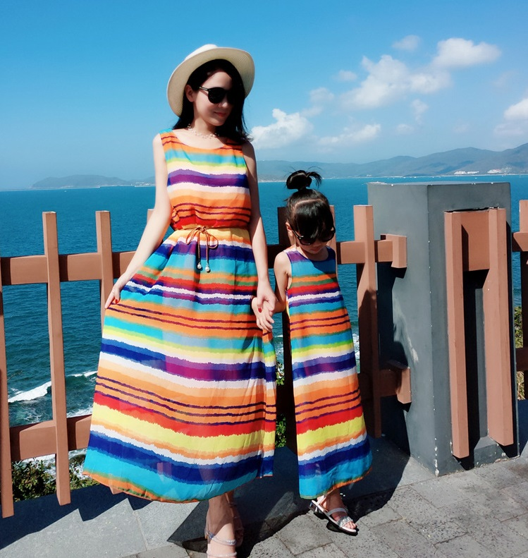 Rainbow Mother Daughter Beach Dresses Family Matching