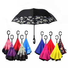 27 Colors Windproof Double Layer Reverse Umbrella Creative Cars C-Handle Women Rain Inverted Umbrella Self-Standing