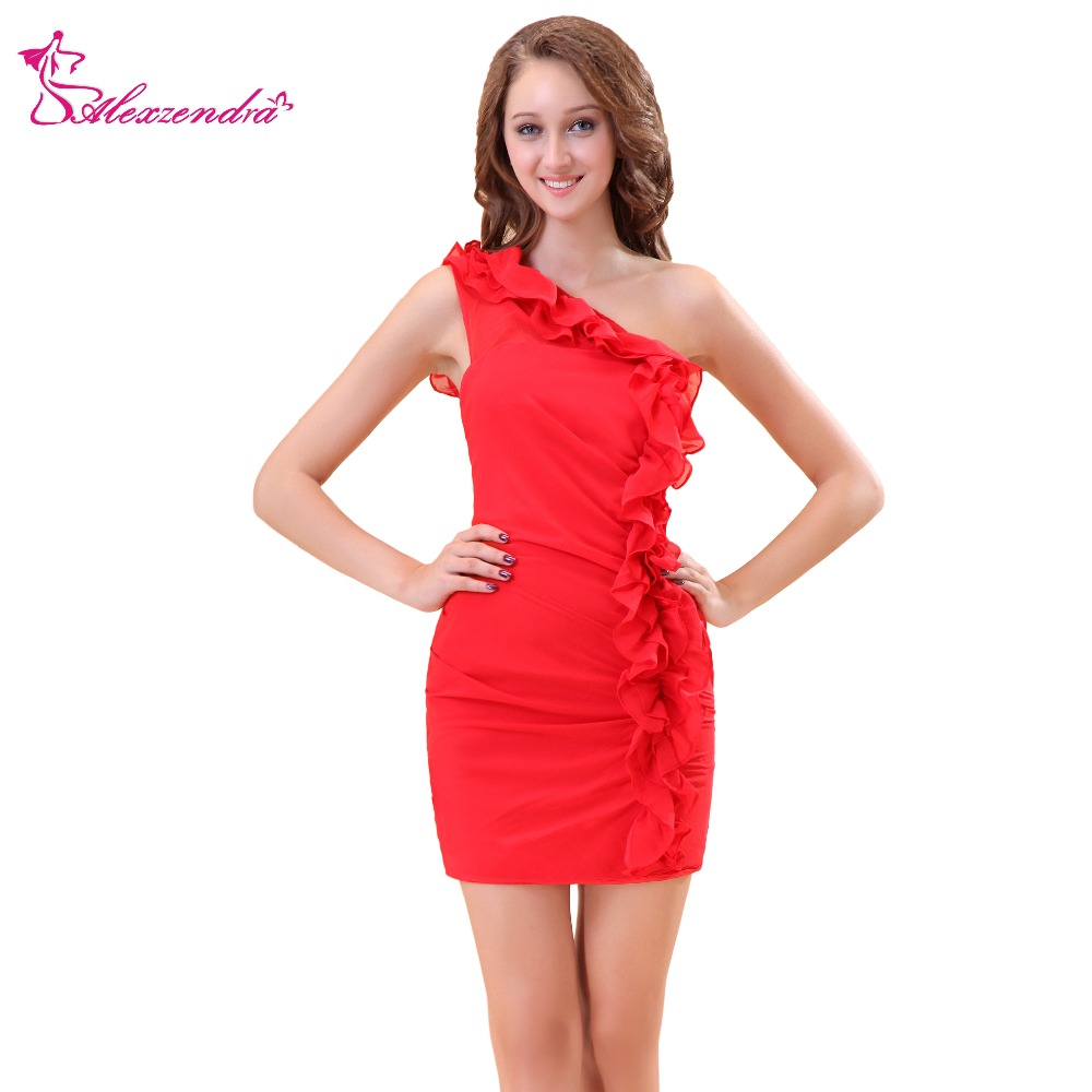 Alexzendra Red One Shoulder Simple Sheath Bridesmaid Dress For Wedding Party Gown Bridesmaid Gown Plus Size