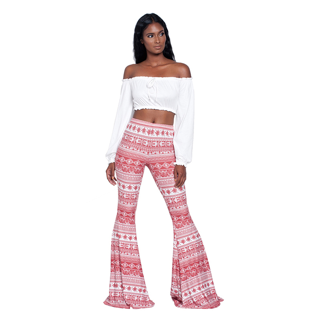 aeebf6b9 Pant Legging American Women Wide Leg Clothing Bottom 2019 Flare Bell Waist  Soft New Bohemian Mid Long Printed Style Legging Jean