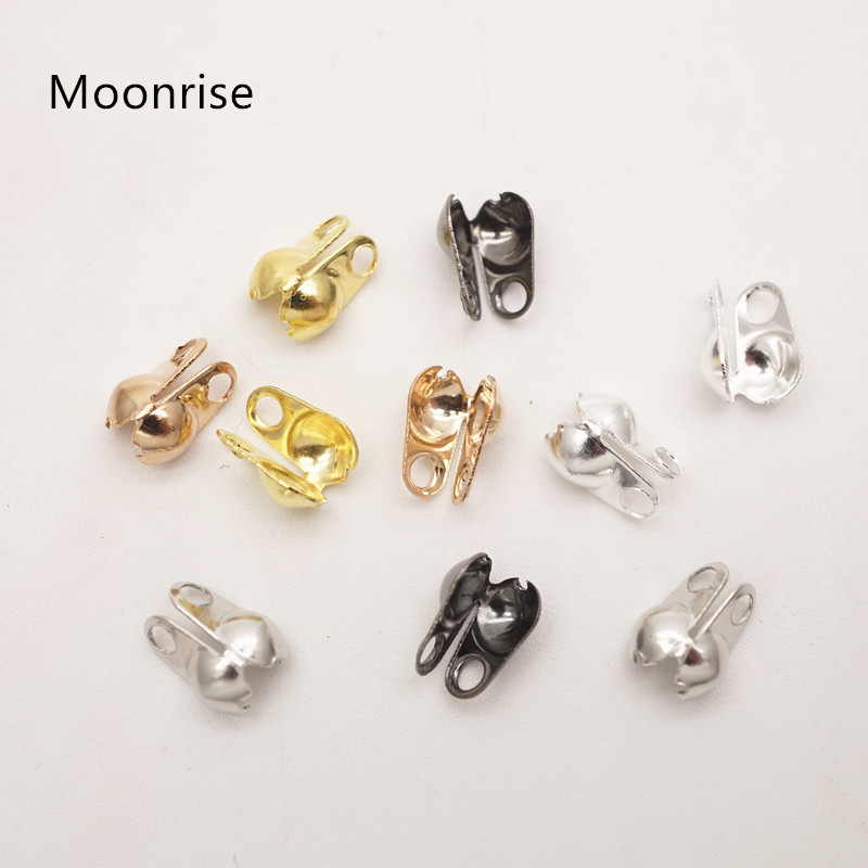 200 New Gold Dull Silver Bronze Plated Connectors Clasp Fit 2.0mm Ball Chains