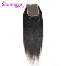Shuangya Бразильский прямые волосы кружева закрытие 4*4 бесплатный часть швейцарский шнурок коричневый non-remy hair 120% плотность 100% человеческих вол...(China (Mainland))