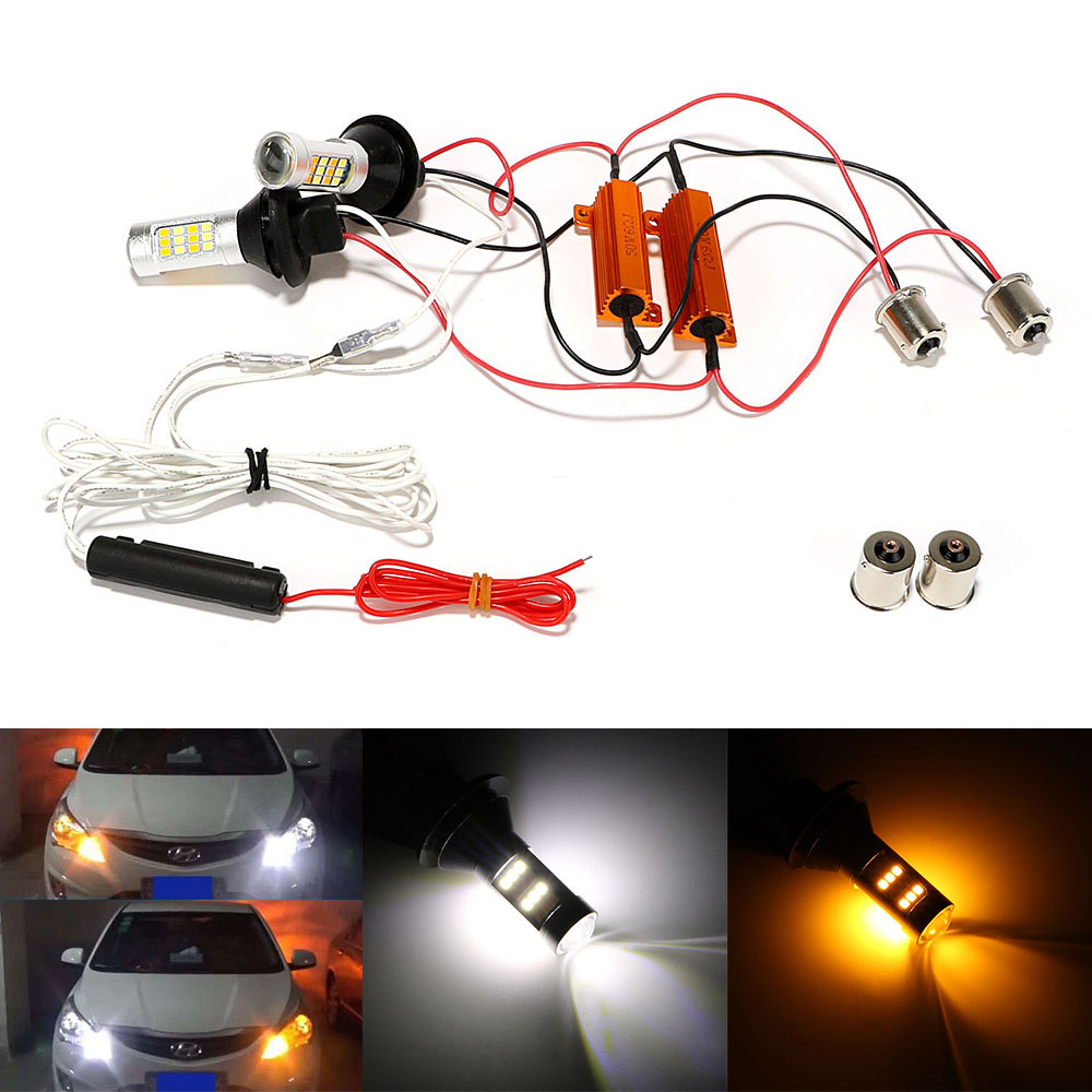 2Pcs/Set 2 In 1 LED Car DRL Daytime Running Lights Auto Lamps High Quality Car Turn Signal Light 1156 42 LEDs DC 12V Car-styling