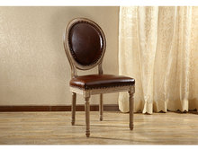 Amerian Style Dining Chair Wood Legs Antique Finish Leather Upholstery Dinining Room Furniture Vintage French Upholstered Chair