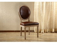 Amerian Style Dining Chair Wood Legs Antique Finish Leather Upholstery Dinining Room Furniture Vintage French Upholstered