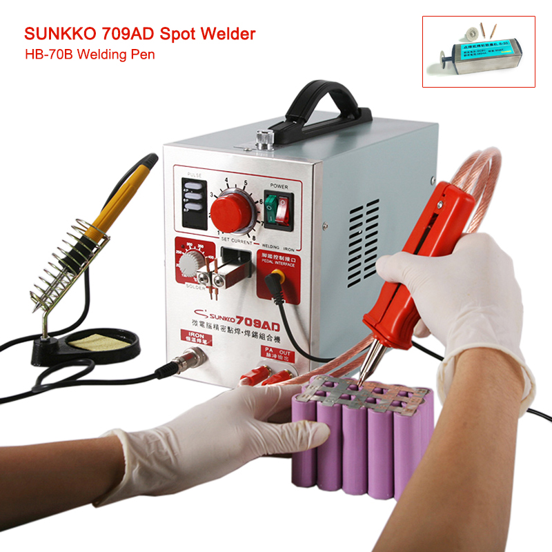 SUNKKO709AD battery spot welder 1.9kw High-power battery digital display mobile soldering Spot welding 18650 battery spot welder green color 925 sterling silver with cubic zircon bird brooch pins fashion women jewelry free shipping