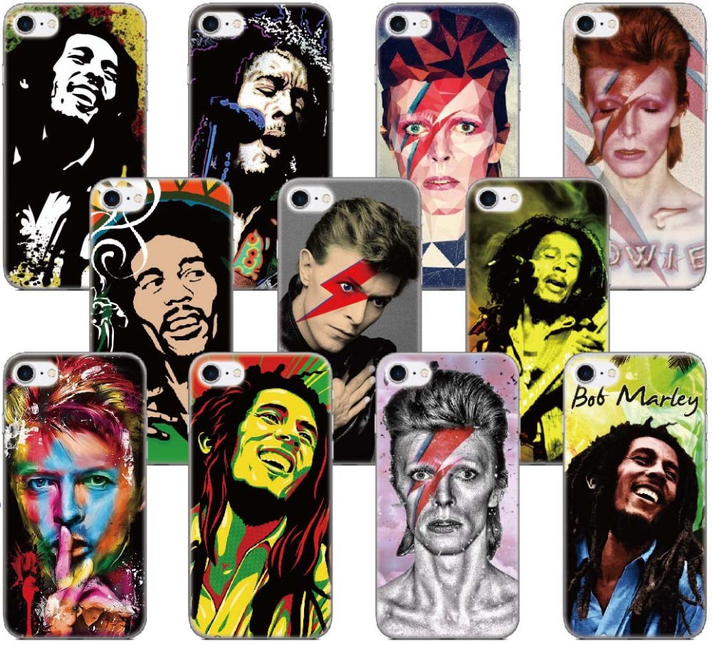 David Bowie Bob Marleys Case For Samsung Galaxy A5 A7 2018 Version S9 Plus S5 S6 S7 Edge Note 3 4 5 E5 Phone Cover Coque Fundas