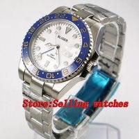 40 мм Bliger белый циферблат керамический ободок синий GMT светящиеся руки сапфировое стекло автоматическое движение Мужские механические часы