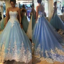 Fnoexw Blue Ball Gown Wedding Dresses Long Bridal Gowns