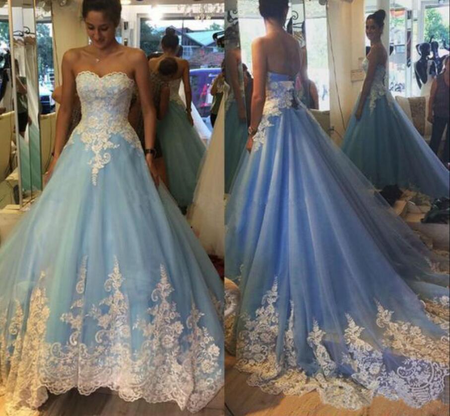 Nouveau 2017 nouveau bleu robe de bal robes de mariée longues perlées Appliques chérie Corset princesse robes de mariée coloré Non blanc