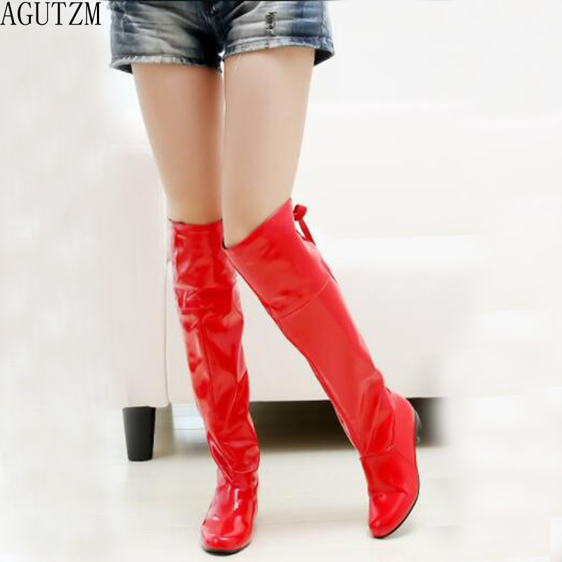 Fashion Ladies Knee High Winter Boots Soft Leather Boots Woman red Zip Warm Fur Women Thigh High Boots Shoes v542