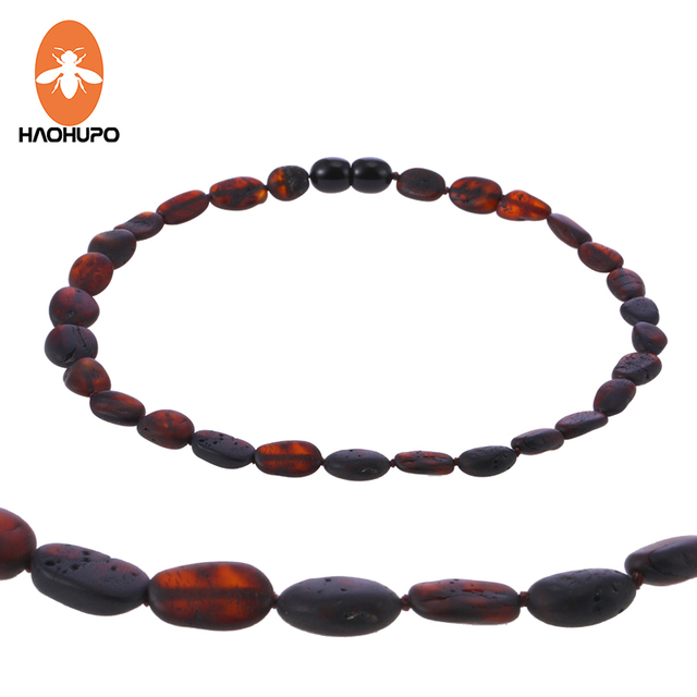 HAOHUPO Raw Bean Amber Necklace For Baby Adults Cherry Color Trendy Jewelry Birthday Gifts Oval Shape Beads New