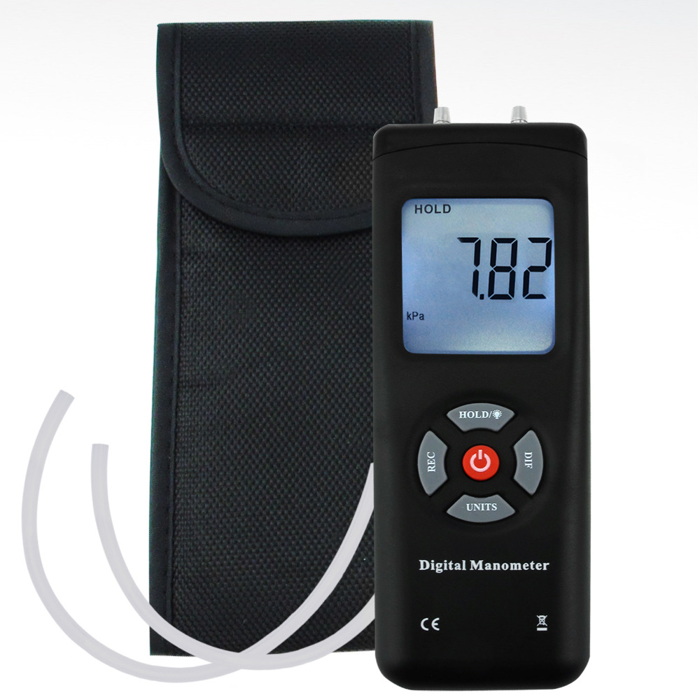 Digital Portable Manometer Handheld Air Vacuum/Gas Pressure Gauge Meter +/-13.78kPa +/-2PSI, 11 Units with Backlight lcd pressure gauge differential pressure meter digital manometer measuring range 0 100hpa manometro temperature compensation