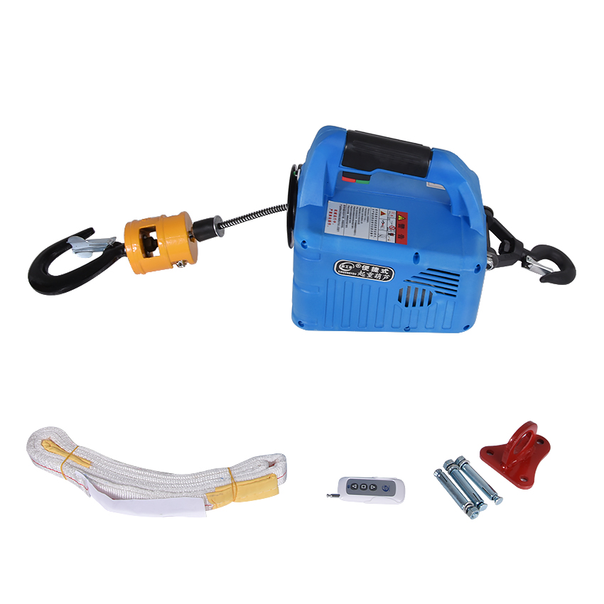 Portabl Electric Small Winch Lifting Traction Hoist Wireless Remote Control Tensioning Machine (500KG 7.6M) (200KG 19M)