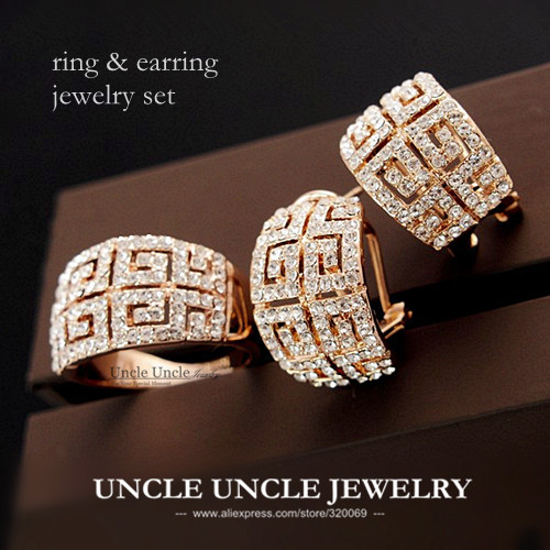 Beautiful Luxury Woman Jewelry Set Rose Gold Color Brand Retro Rome Style Austrian Crystal G Design Jewelry Set Earring/Ring raheja dev g design for reliability isbn 9781118309995