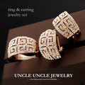Beautiful Luxury Woman Jewelry Set Rose Gold Plated Brand Retro Rome Style Austrian Crystal G Design Jewelry Set Earring/Ring