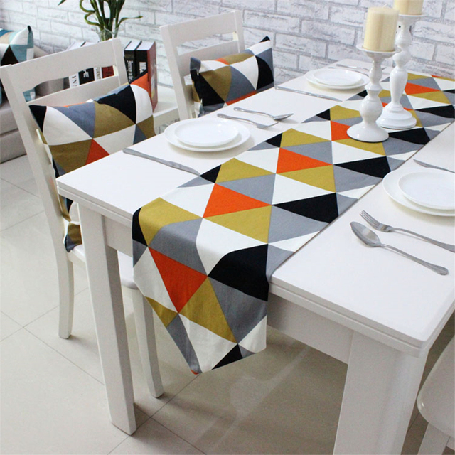Modern Simplicity Style Colorful Triangular Pattern 100 Cotton Table Runner Soft Decorative Cloth