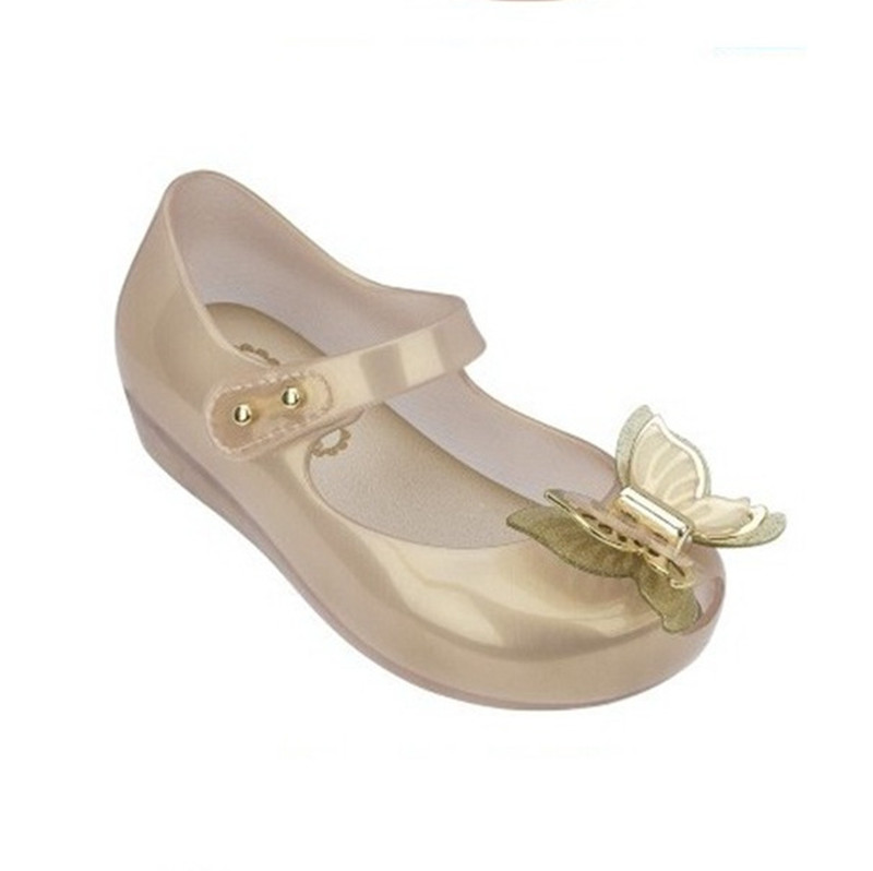 Mini Melissa Fashion Princess Girls Sandal Flats Shoes Butterfly Crystal Clear Summer Shoes Mini Melissa Sandals For Girls