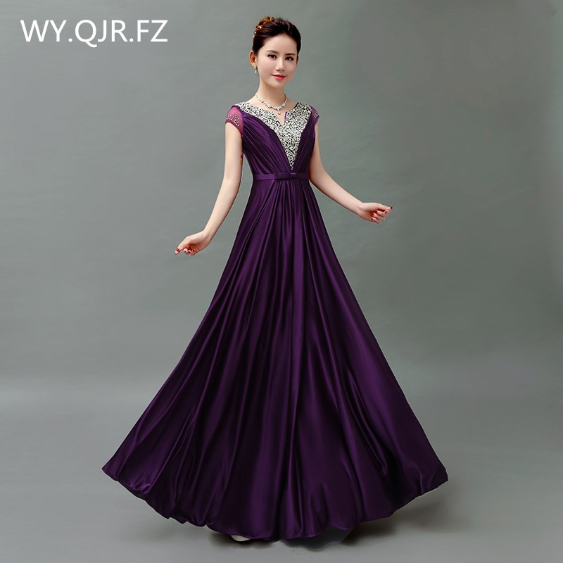 QLY5189Z#Pruple Red Blue Purple Lace Up Host Dress Toastery Hostess's Chorus Costume Long Bridesmaid Dresses Wholesale Graduatio