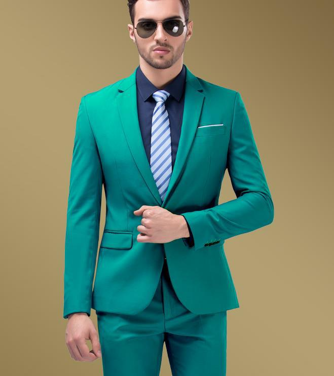 Fashion Designer Hotel Green suits Business Brand Mens Suit set ...