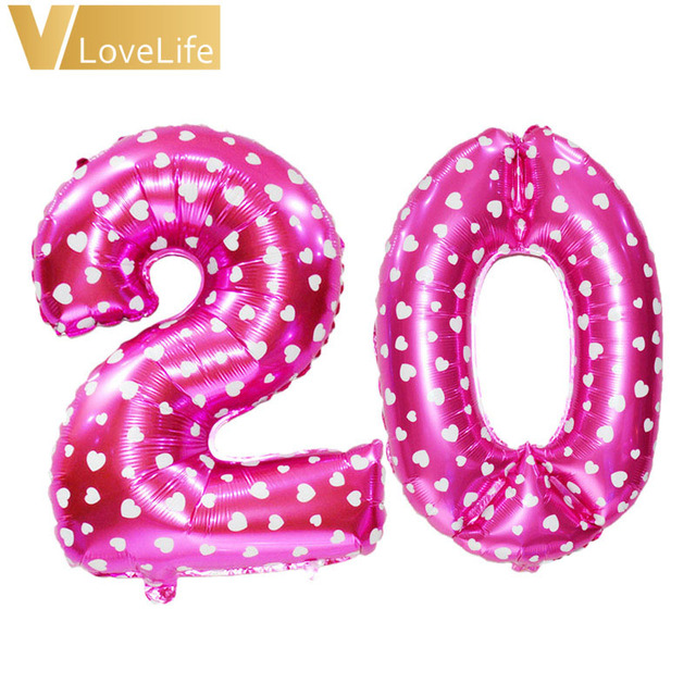 Champagne Pink Blue 16th 18th 20th 21st 30th 40th 50th Birthday Balloon Number