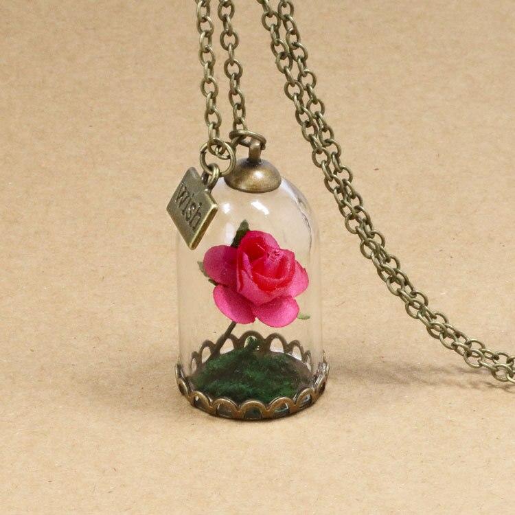HTB18po8QpXXXXbwaXXXq6xXFXXXh - 1PC jewelry Beauty and the Beast Necklace Wish Rose Flower in Glasses Pendant Necklace PTC 198