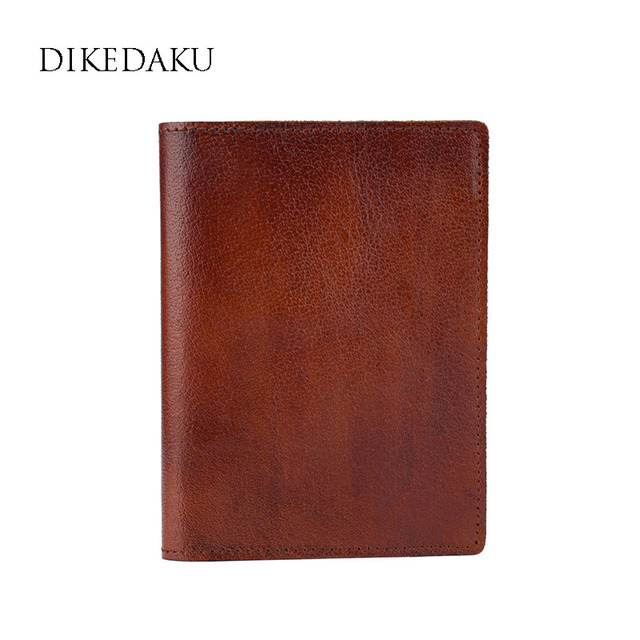 d88135851717 DIKEDAKU Handmade Brush Genuine Leather Passport Cover Women Solid Vintage  Travel Passport Organizer Card Holder Passporte Case-in Card & ID Holders  ...
