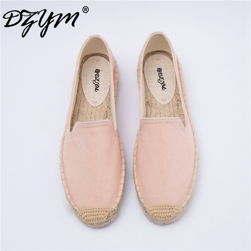 DZYM 2018 Summer Cool Canvas Espadrilles Thick-soled Women Fisherman Shoes Hand-made Flax Loafers Hemp Woven Flats Zapatos Mujer