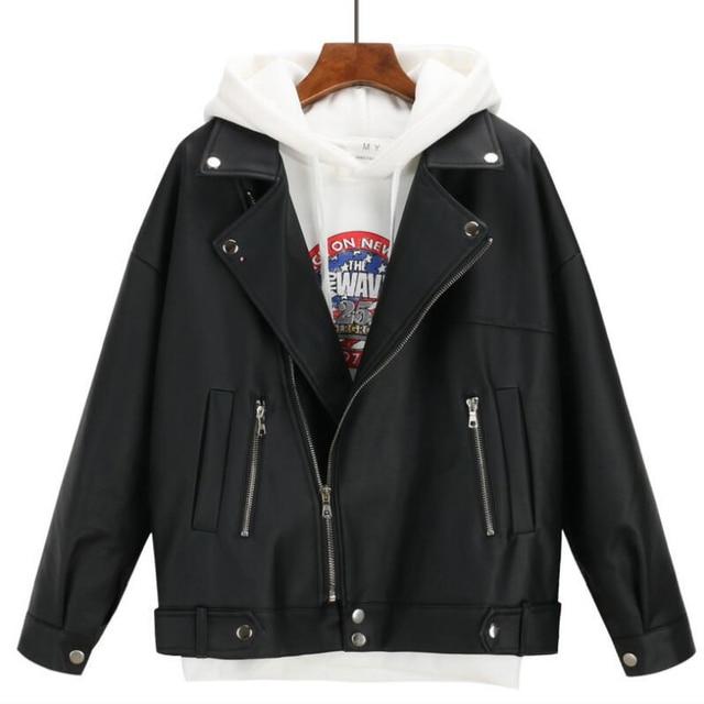 2019 New Arrival Women Autumn Winter Leather Jacket Oversized Boyfriend Korean Style Female Faux Coat Outwear Black 1