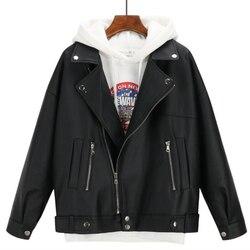 Женская кожаная куртка оверсайз Boyfriend, черная куртка из искусственной кожи в Корейском стиле на осень и зиму, 2019
