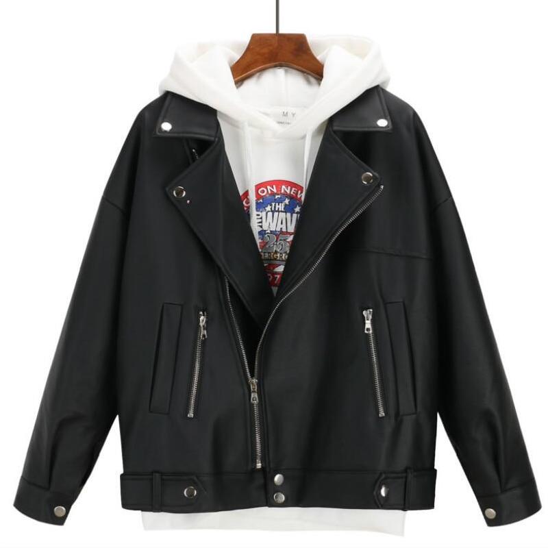 2019 New Arrival Women Autumn Winter Leather Jacket Oversized Boyfriend Korean Style Female Faux Coat Outwear Black(China)
