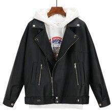 Veste en cuir noire surdimensionnée Style coréen pour femme, Faux manteau d'extérieur, nouvelle collection automne hiver 2019
