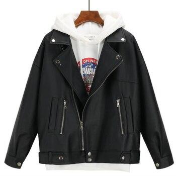 2019 New Arrival Women Autumn Winter Leather Jacket Oversized Boyfriend Korean Style Female Faux Coat Outwear Black