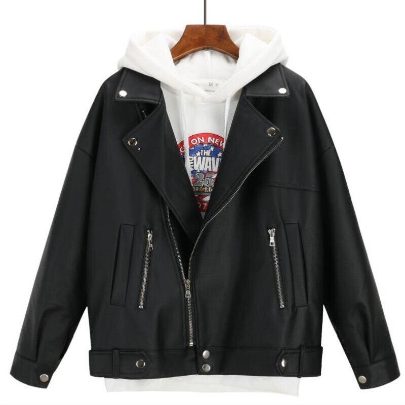 2019 nouveauté femmes automne hiver veste en cuir surdimensionné petit ami Style coréen femme Faux manteau Outwear noir
