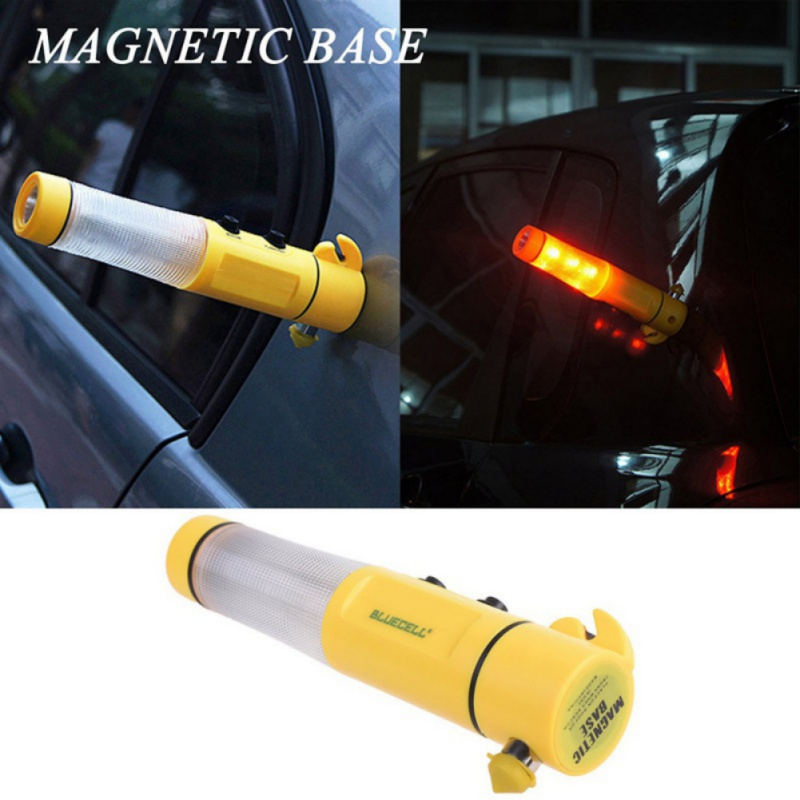 4 In 1 Auto Car Emergency Safety Escape Tools Hammer Seat Belt Cutter Flashing Red Beacon LED Flashlight Car Rescue Tool Light