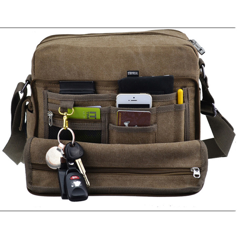 Multifunction Men's Canvas Crossbody Bag Shoulder bag handbag Messenger Sling Satchel Casual Travel Bags