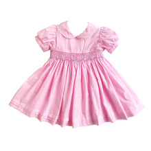 Girl Dress Hand Smocked Baby Dresses Toddler Princess Cotton