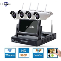 Hiseeu 4CH 7 Inch Displayer NVR 960P Wireless IR Night Vision Camera Security IP Surveillance Kit Smart Home Security