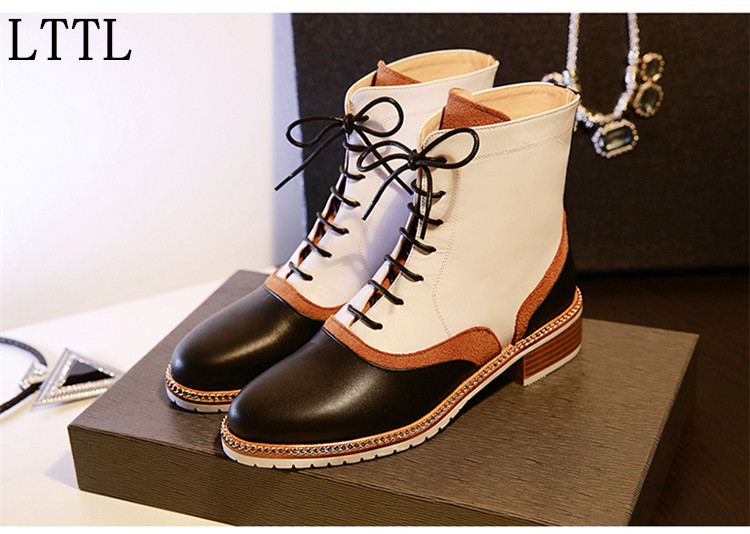 New Patchwork Suede and Leather Winter Boots Lace-Up Flat Bottom Fashion Women Ankle Boots Mixed Colors Motorcycle Boots Woman