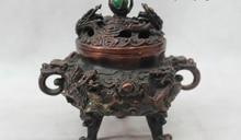 6″Marked China Chinese Bronze Dynasty Nine Dragon Play Bead incense burner Statu