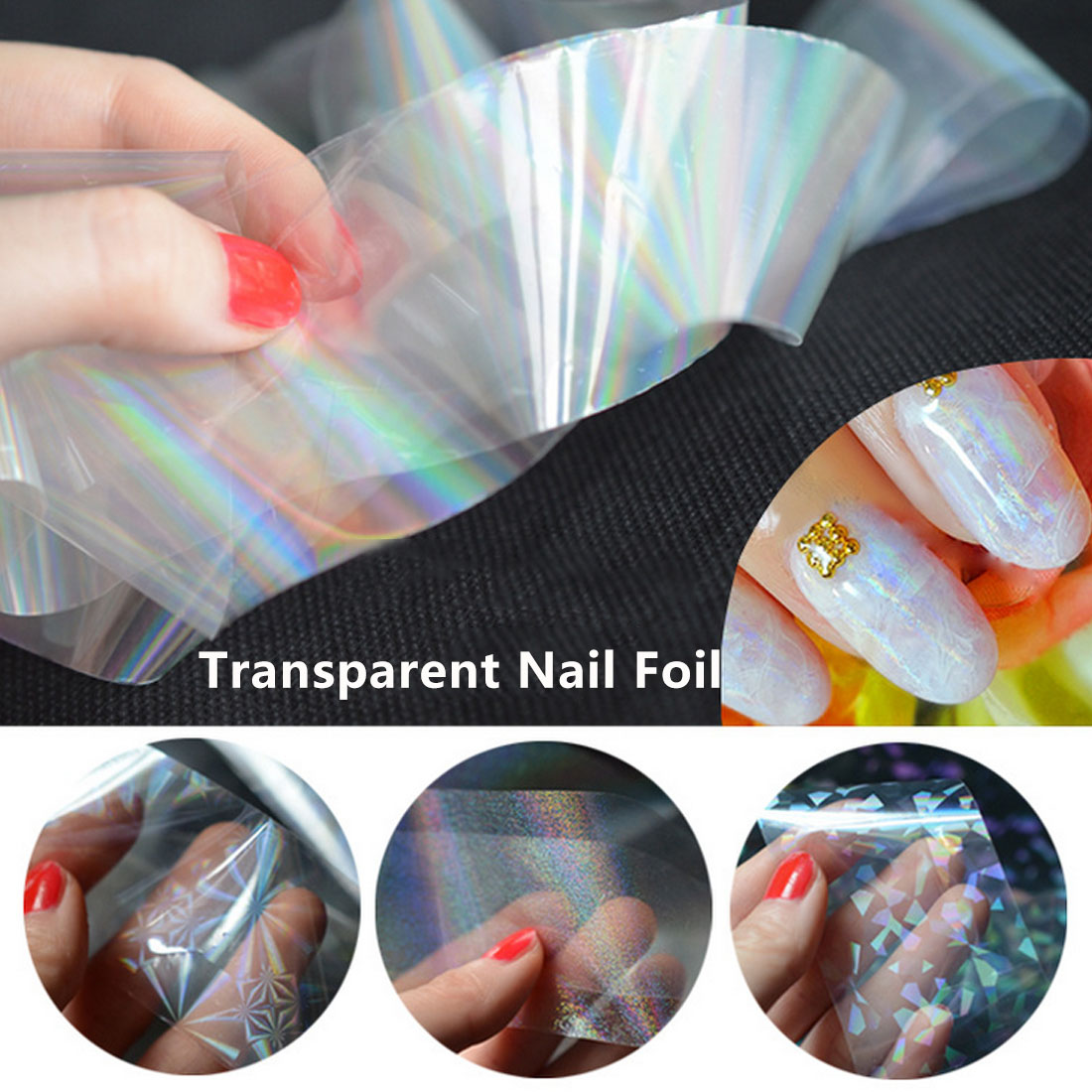 4*120cm Laser Nail Foil Firworks Holographic Transparent Refraction Manicure Nail Art Decos Lucency 8 Patterns Starry Stickers