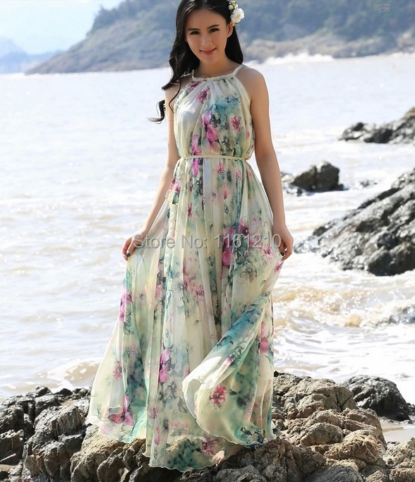 Aliexpress.com : Buy Summer Floral Long Chiffon Maxi Dress Gown ...