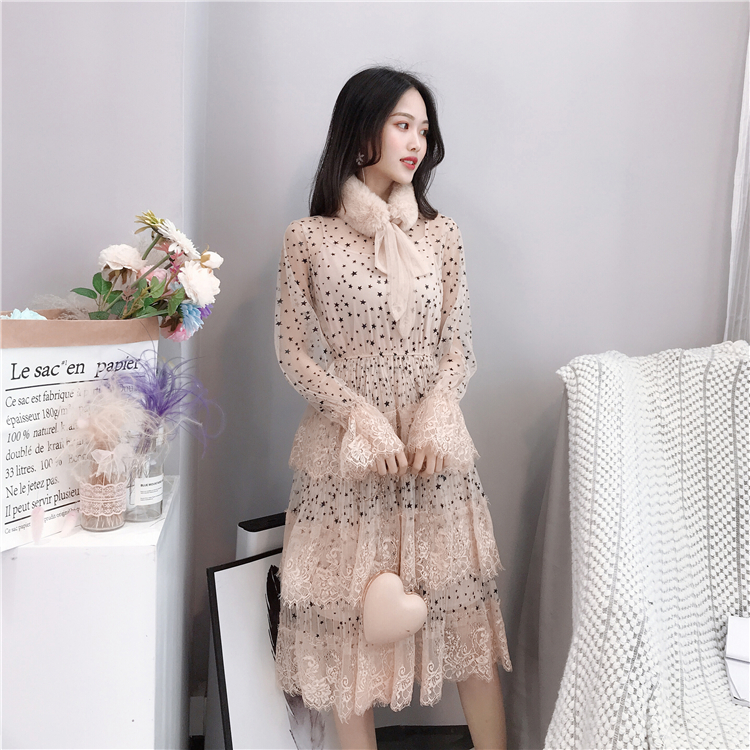 ALPHALMODA 2019 Spring Fur Collar Sweet Bow Stars Print Long-sleeved Multi-layer Women Princess Chiffon Dress + Sling 2pcs Set 9