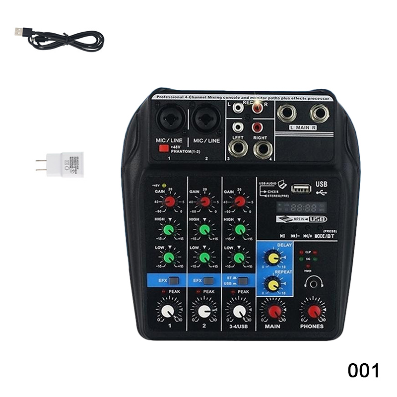 Mini amplificateur de mixage Audio USB carte Bluetooth 48 V alimentation fantôme 4 canaux pour DJ karaoké MC889