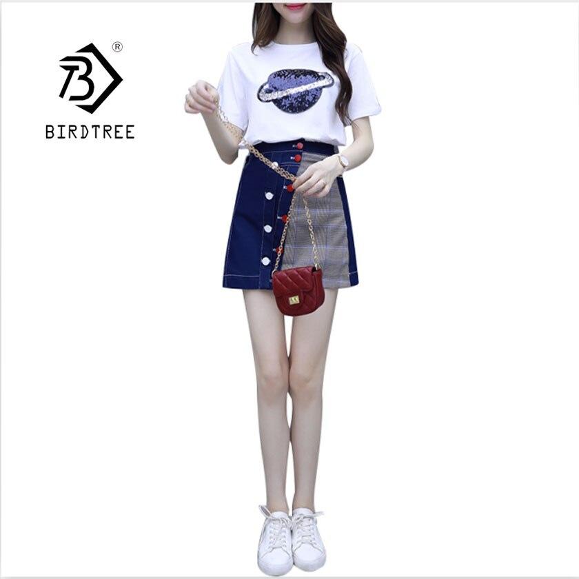 2019 Two Piece Dress Paillette T-Shirt Skirt Suit The Female S95002d