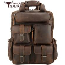купить Backpack Men Travel Multi Pocket 14 Genuine Leather Backpacks Bags 2019 New Male Business Travelling Casual Book Backpack Bag дешево