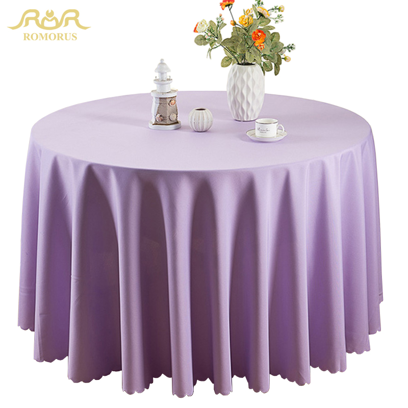 Romorus Polyester Round Tablecloths Solid Color Wedding