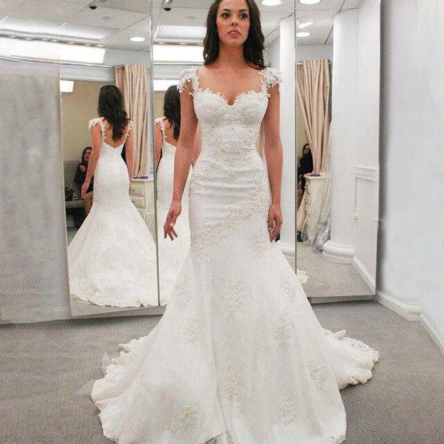 JIERUIZE White Lace Mermaid Trouwjurken Sweetheart Bruidsjurken Bruid Jurken robe de mariee