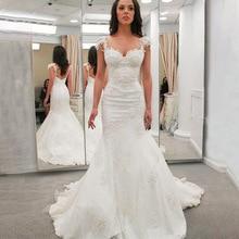 JIERUIZE beyaz dantel Mermaid gelinlik sevgiliye gelinlikler gelin elbiseler robe de mariee