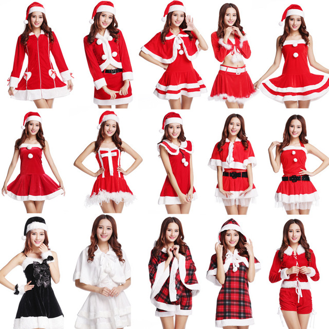 Genial BYSPT Hooded Santa Claus Xmas Dress V Neck Women Party Dress Sexy Unique  Christmas Costume Winter Dress Party Dress Cosplay Suit